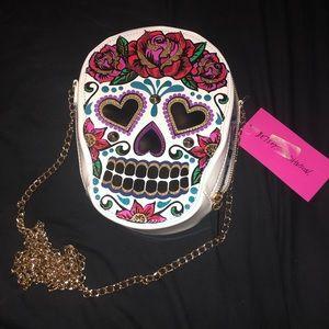 Betsey Johnson Head Case Sugar Skull Crossbody